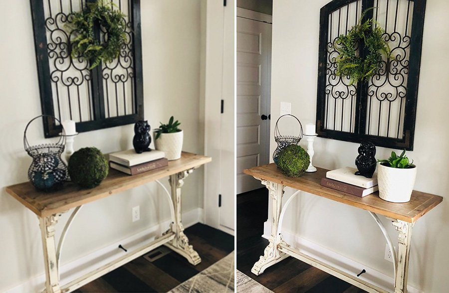 Distressed White Corbel Console Table in Entryway