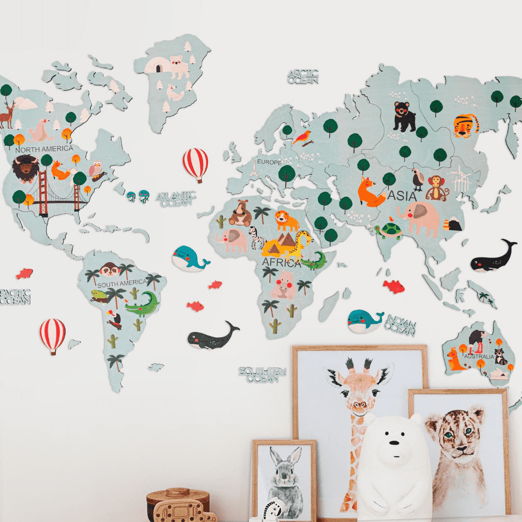 Kids Blue Wooden World Map with Continents and Wildlife Indentified
