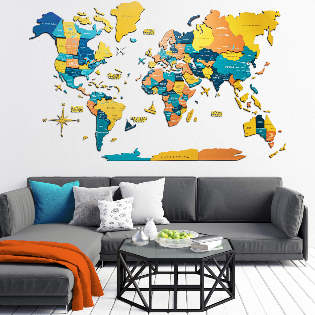 Multi color wooden world map wall art