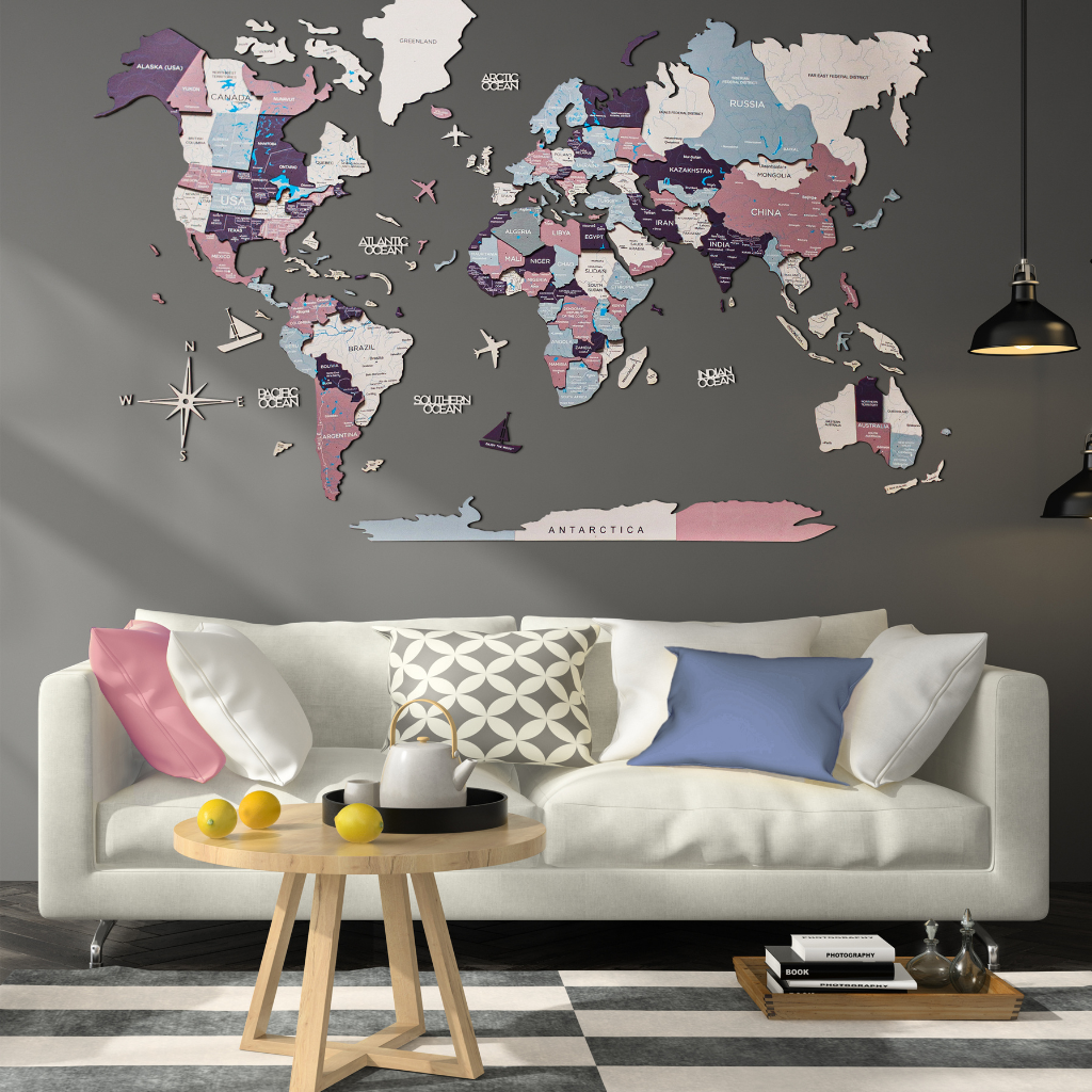 Pastel Colored 3d Wooden World Map as Wall Art