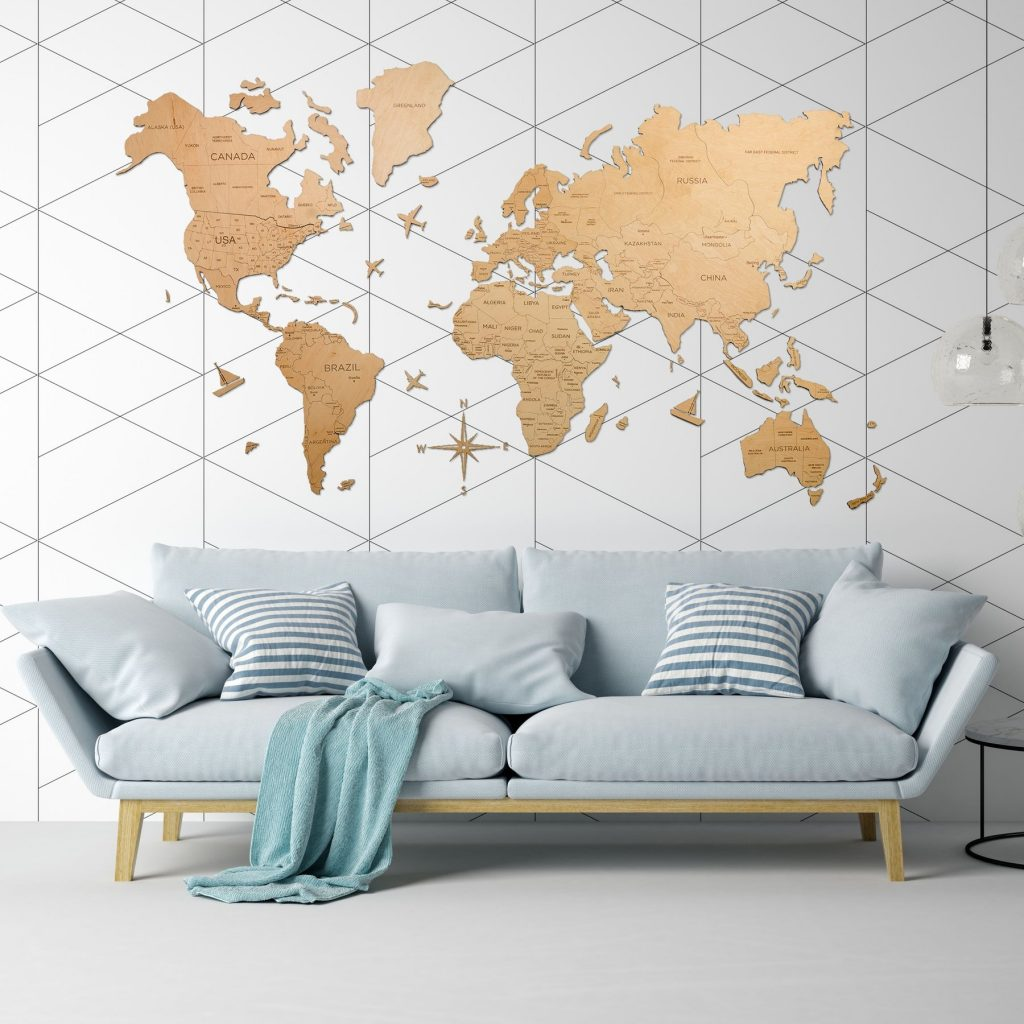 Wood World Map in Natural Finish as Full Wall Art in Living Room