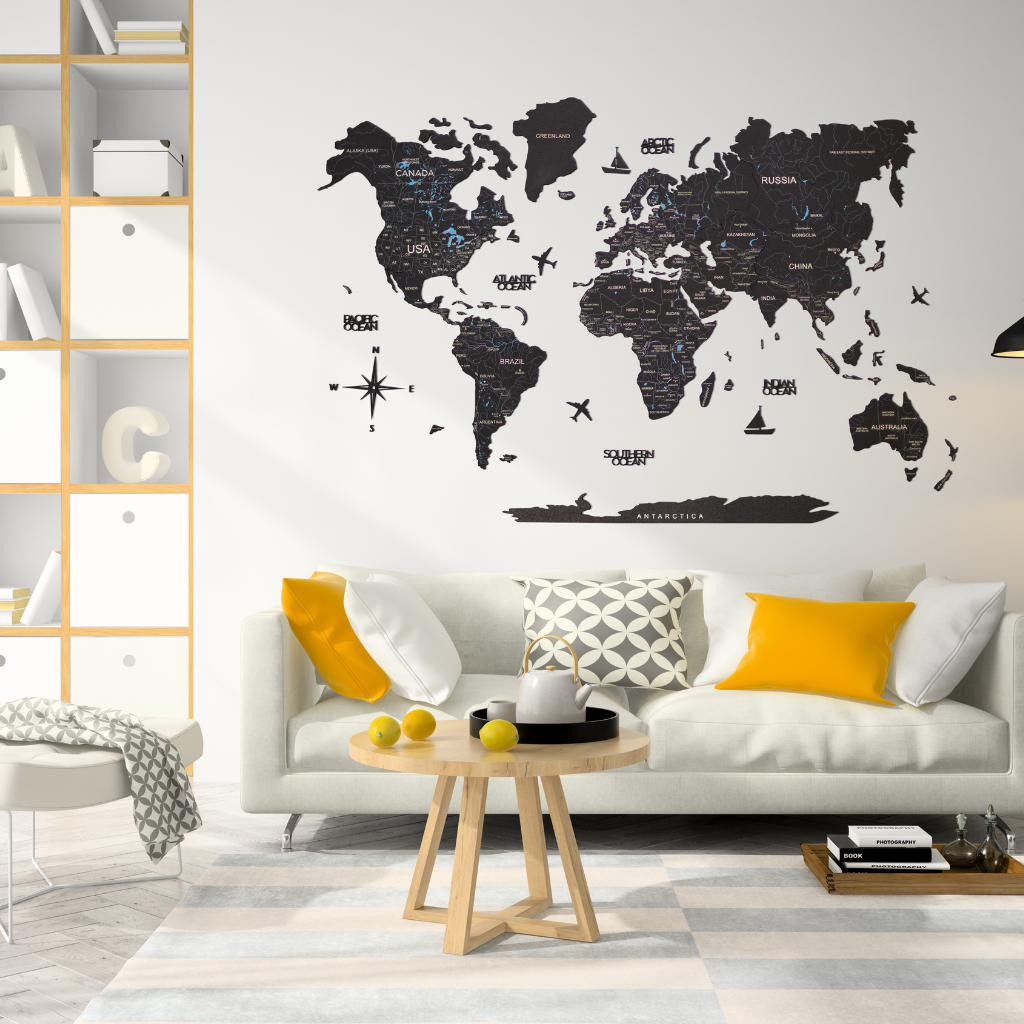 Wooden World Map Wall Art in Painted Black