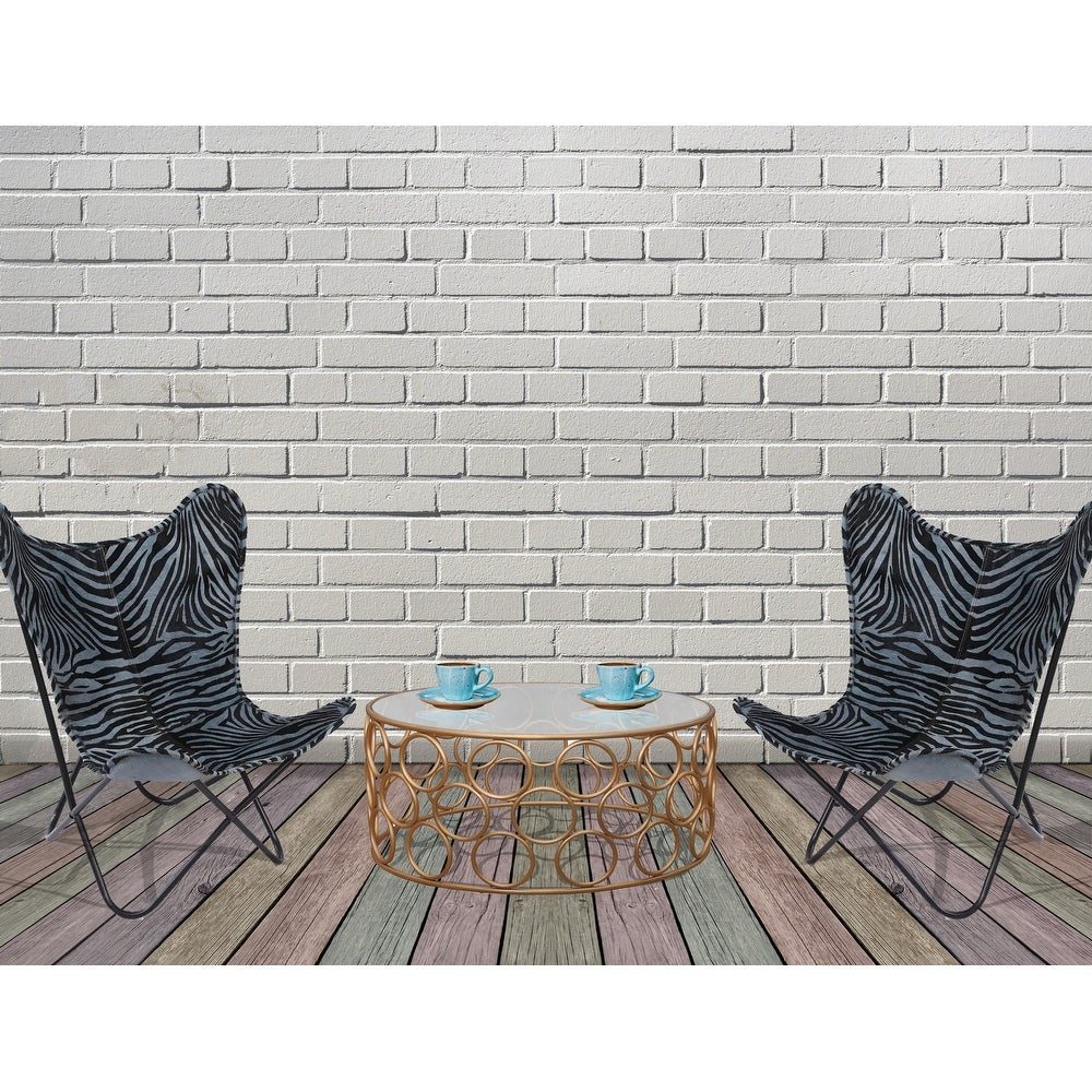Set of 2 Powder Coated Steel Frame with Grey Zebra Print Butterfly Folding Chair