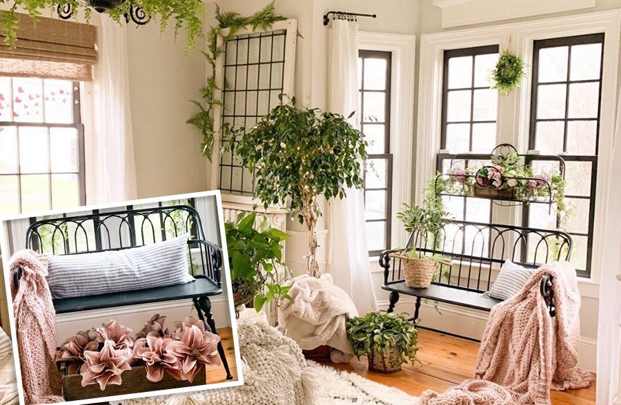 Rustic Metal Farmhouse Cottage Bench