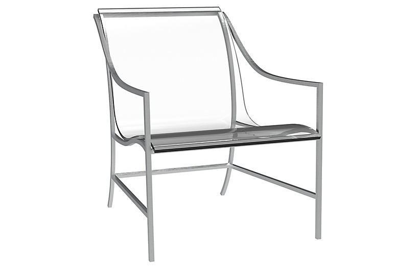 Summer Classics Inc Claro Clear Acrylic and Metal Armchair can be used both indoors and outdoors