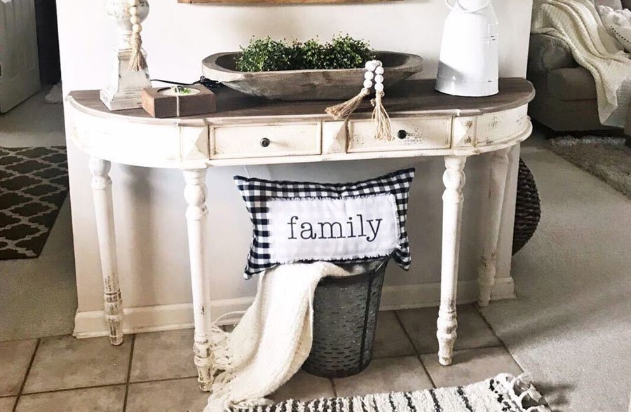 Rustic Rounded Aged Wood Console Table