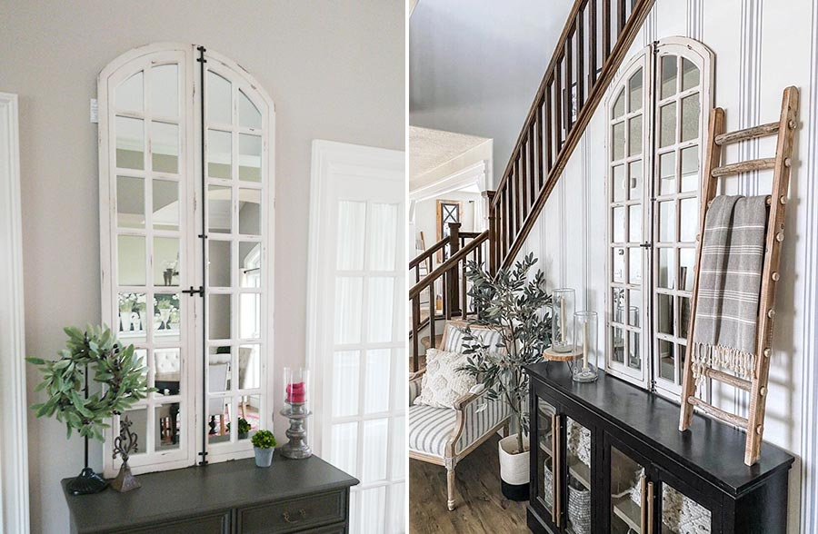 Rustic White Washed Arch Window Mirror in 2 Decor Settings