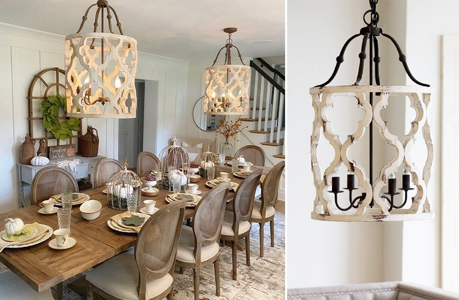 Rustic Whitewashed Wood Chandelier