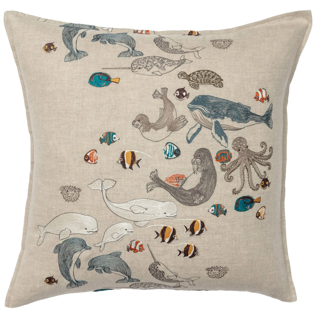 Coral and Tusk Linen Pillow with Sea Creatures