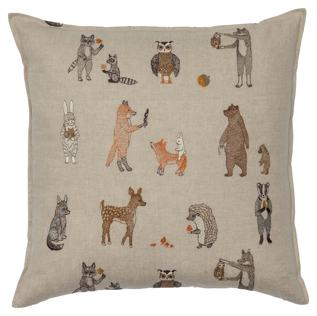 Coral and Tusk Linen Pillow with Woodland Animal Friends