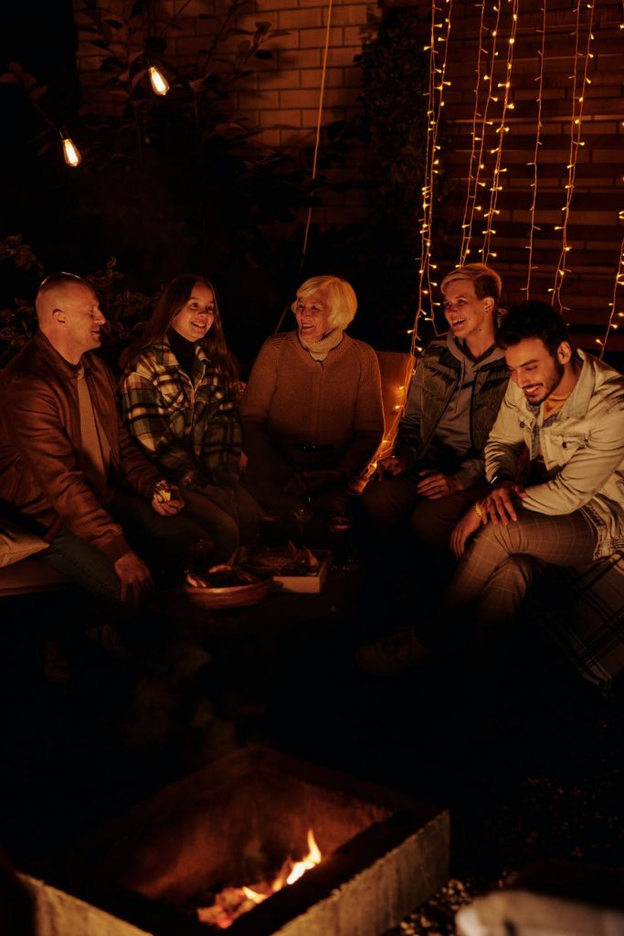 Family Gathered Around a Firepit