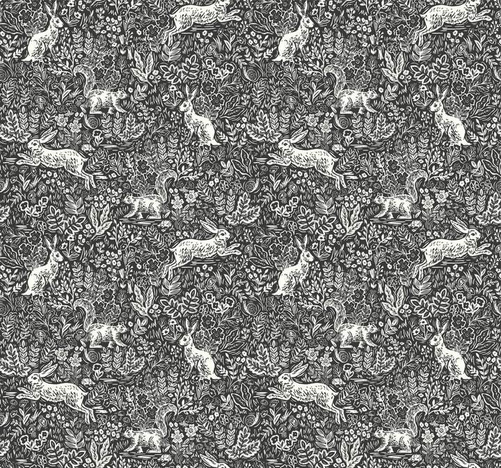 Rifle Paper Co Bunny Fable Wallpaper in Black and White
