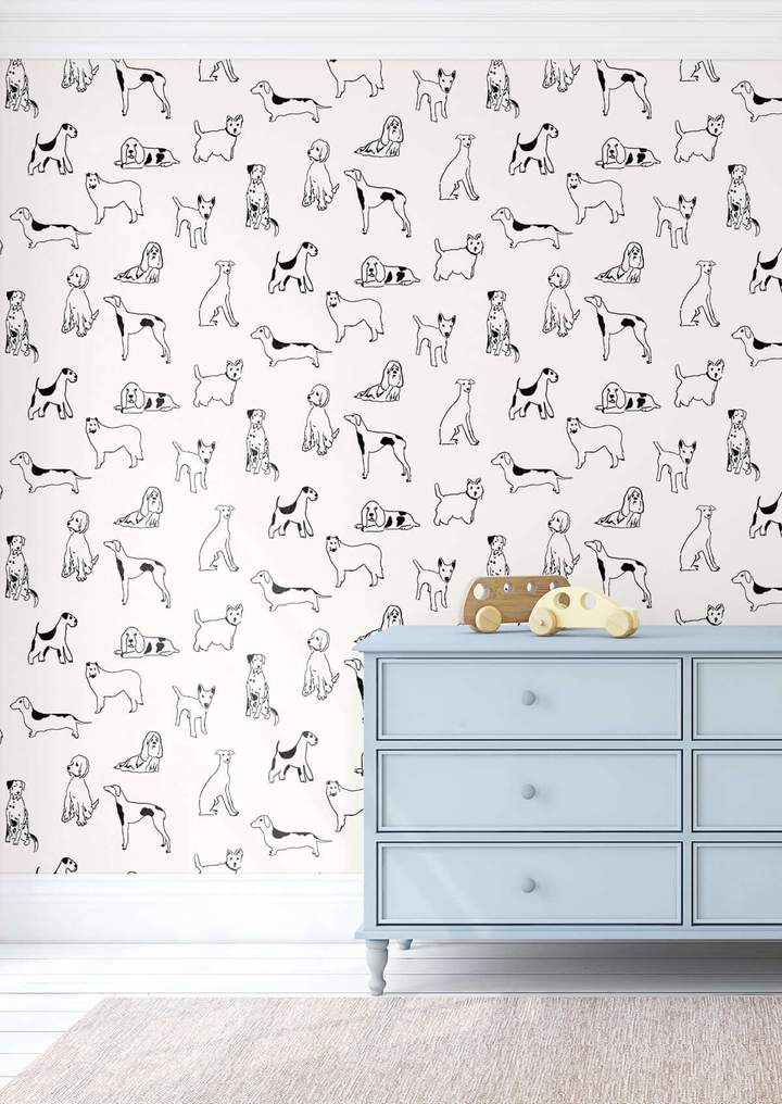 Stacy Garcia Home Best in Show Dog Themed Peel and Stick Wallpaper in Black and White in Nursery