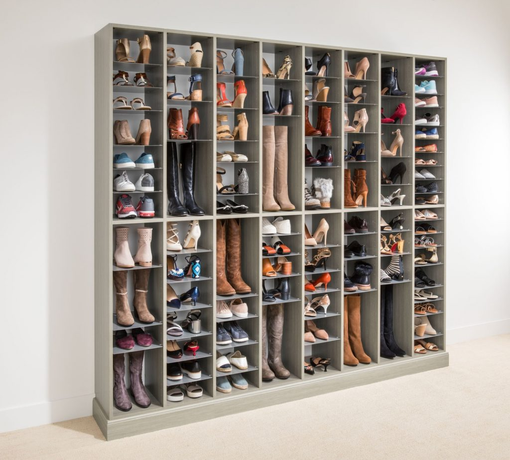 The Great Wall of Shoes Custom and Adjustable Shoe Shelving Unit by Easy Closets