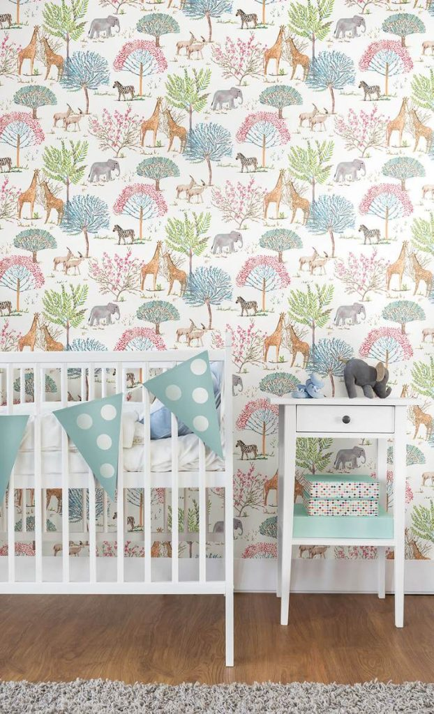 York Wallcoverings On The Savanna Primary Colors Nursery Wallpaper in Nursery with White Furniture