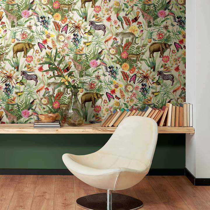 York Wallcoverings Tropical Zoo Animals Peel and Stick Wallpaper in Nursery
