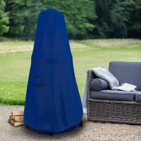 Chiminea Custom Protective Cover in Blue on Patio