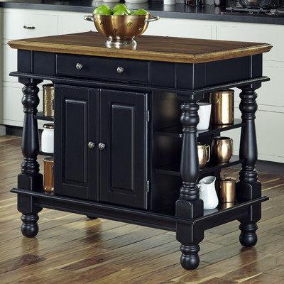 Black Wooden Portable Kitchen Island