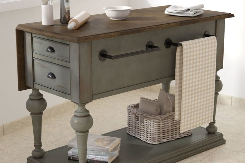 Serpentaire Kitchen Island with Expandable Wood Top