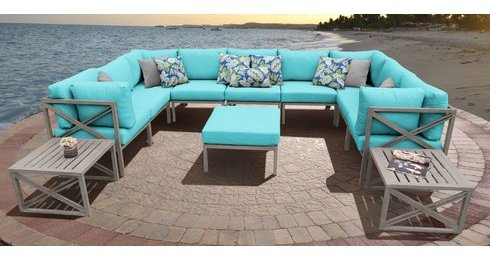 Turquoise Azure Grey U shaped Outdoor Sectional