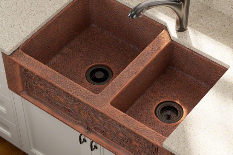Copper Aproned Farmhouse Double Kitchen Sink