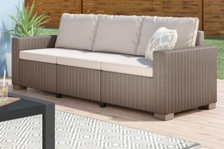 Modern Outdoor Sofa in Faux Wicker Resin and Cushions