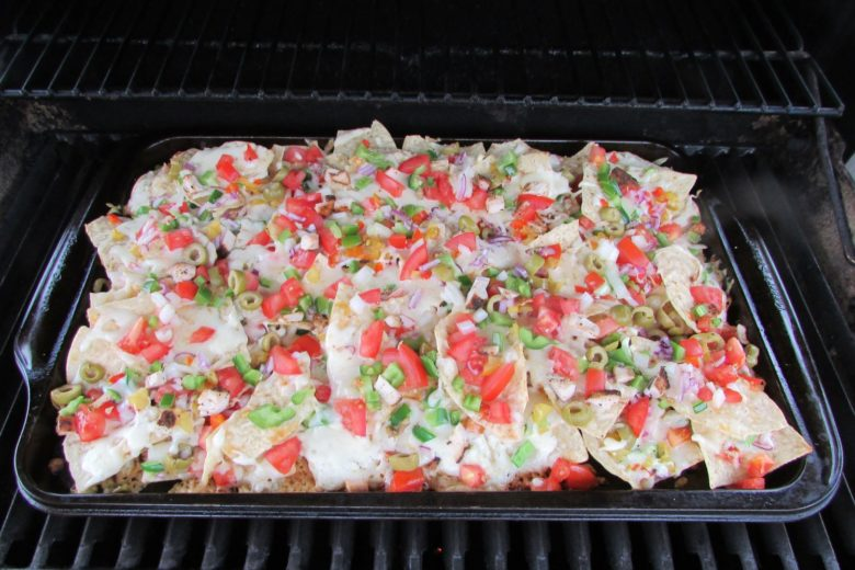 Nachos cooked on the BBQ - barbeque