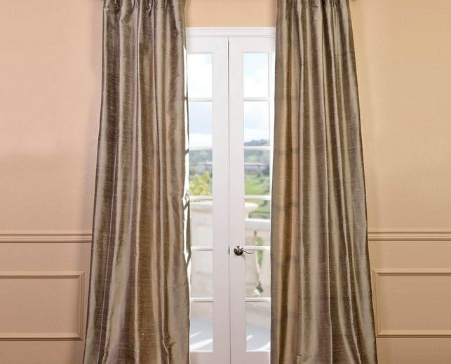 Silk Dupioni Pleated Top Drapes Installed on French Doors