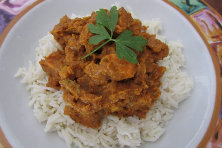 Red Lentils and Sweet Potato Curry Served on Rice