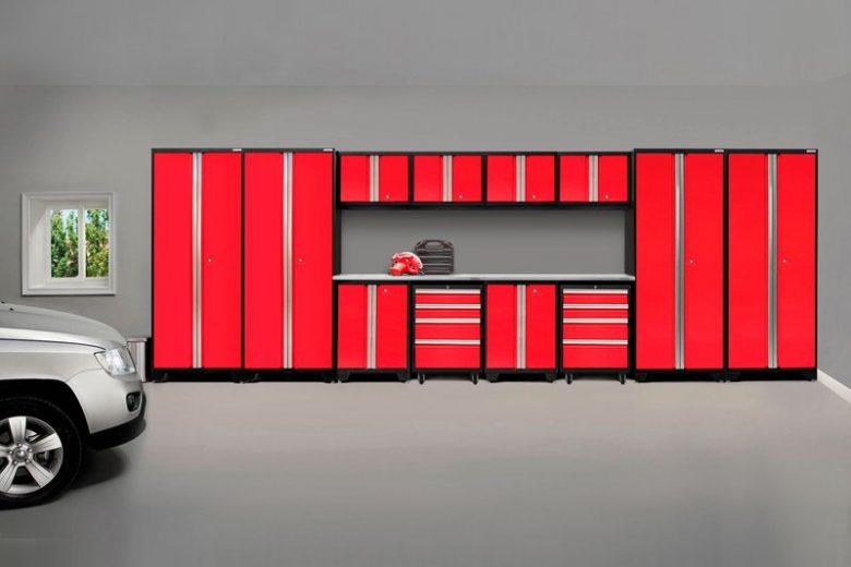 Bold Red 14 Piece Garage Storage Cabinet System