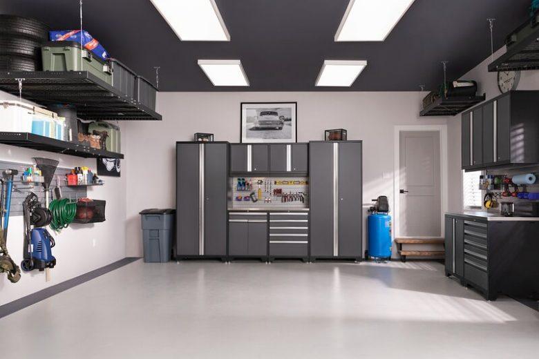 Organized Garage with Storage Cabinets