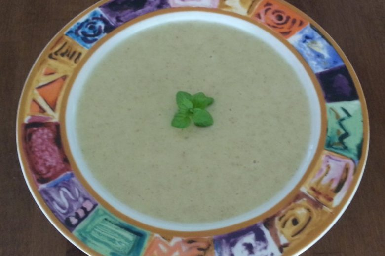 Sweet and Spicy Rutabaga Soup Topped with Mint Garnish