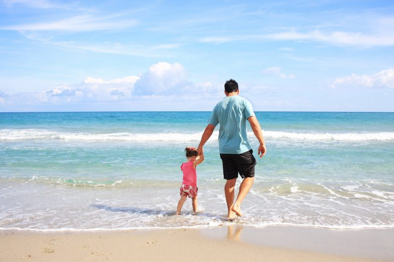 Father and Daughter on Beach Vacation