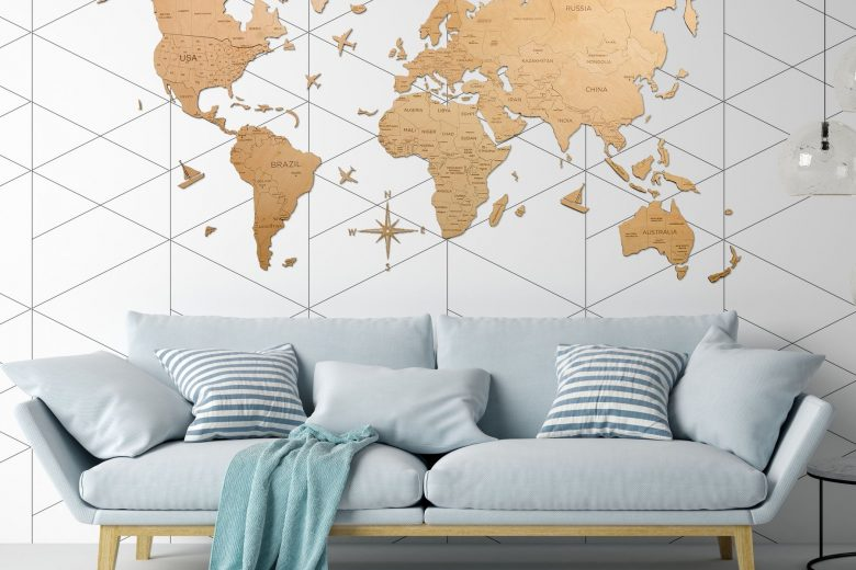 Wooden World Map as Wall Art in Modern Coastal Themed Living Roomish-as-Full-Wall-Art-in-Living-Room